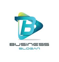 Letter b media logo vector