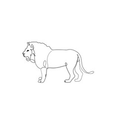 lion standing one line drawing vector image