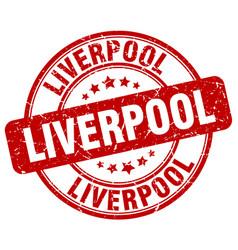 Liverpool red grunge round vintage rubber stamp vector