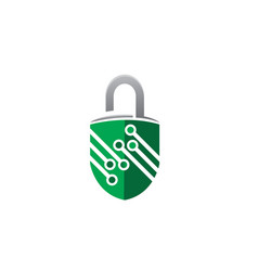 lock technolory symbol guard for logo design vector image