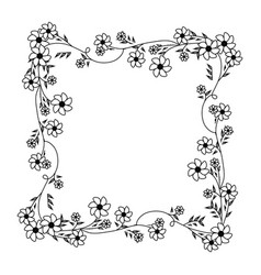 Monochrome contour with square frame ornament with vector