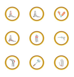 Orthopedic disease icons set cartoon style vector