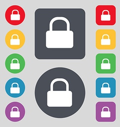 Pad Lock icon sign A set of 12 colored buttons vector