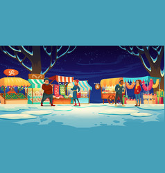 People on christmas fair with market stalls vector