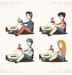people playing video game retro vector image