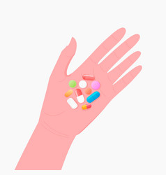 Pharmacy concept pills and tablet on human hand vector
