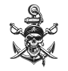 Pirate skull emblem with swords anchor vector