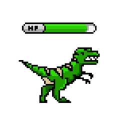 pixel dinosaur art 8 bit objects retro game vector image