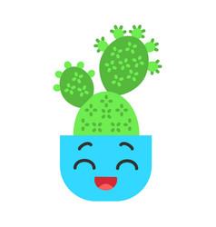 Prickly pear cactus flat design long shadow color vector