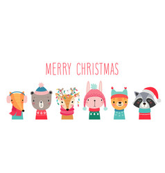 Printchristmas card with cute animals hand drawn vector