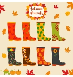 Rain boot rubber boots Autumn elements Creative vector