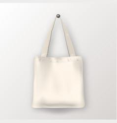 Realistic white empty textile tote bag vector