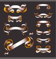 Ribbons realistic gold tape flag banner vector
