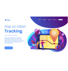 School bus tracking system concept landing page vector