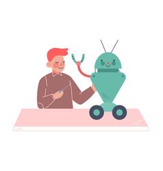 schoolboy assembling robot boy engineer character vector image