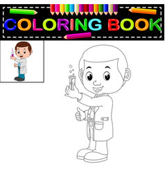 Scientist coloring book vector