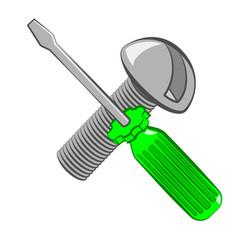 Screwdriver and screw cartoon style vector