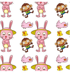 seamless pattern tile cartoon with animals vector image