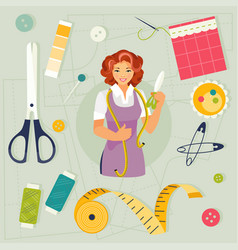 Seamstress and sewing accessories vector