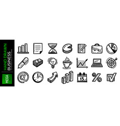 set hand drawn business icons charts graphs vector image