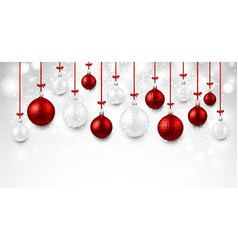 shining background with colorful christmas balls vector image