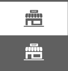 shop icon on white and dark backgrounds vector image