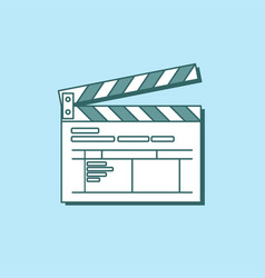 Simple clapper board icon in flat style the vector