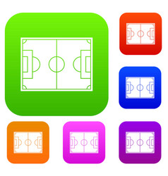 soccer field set color collection vector image