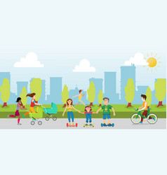 sports and recreation in park cartoon vector image