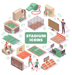 stadium icons round composition vector image