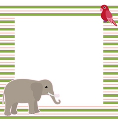 Stripy card with elephant and parrot vector