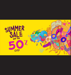 Summer sale 50 discount colorful banner doodle vector