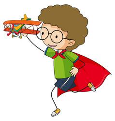 super hero boy cartoon character in hand drawn vector image