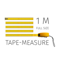 Tape measure yellow yardstick 1 meter real size vector