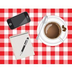 telephone coffee and a notebook vector image