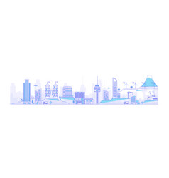 thin line cityscape with skyscrapers line modern vector image