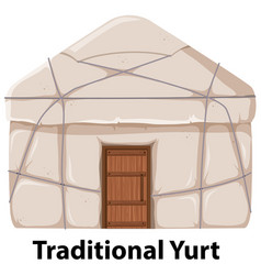 Traditional yurt house on white background vector