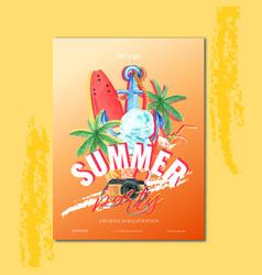 Travel on holiday summer beach palm tree vector