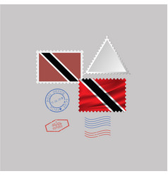 Trinidad and tobago flag postage stamp set vector