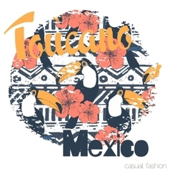 Tropical print with toucans and slogan in vector image