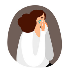 upset woman is crying vector image
