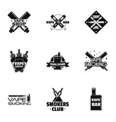 vape shop logo set simple style vector image