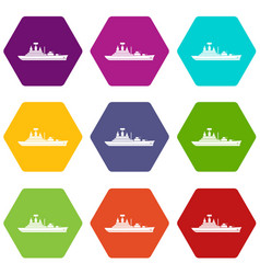 Warship icon set color hexahedron vector