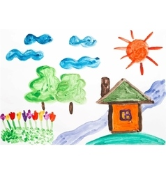 Watercolor drawing summer day vector