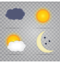 Weather Icons with Sun Cloud Rain and Moon vector image