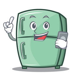 With phone cute refrigerator character cartoon vector