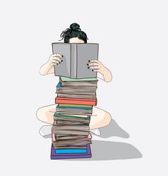 women sitting reading books vector image
