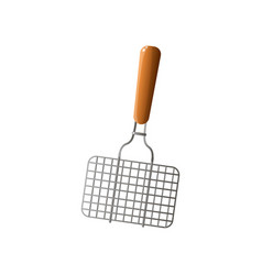 wood hand barbecue metal steel net for grill vector image