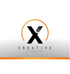 X letter logo design with black orange color cool vector