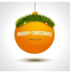 Christmas ball background with xmas tree vector image